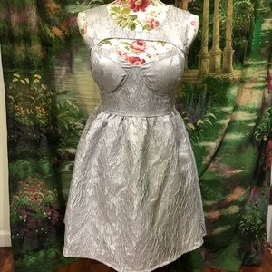 Silver Lace Cutout Party Dress Never Worn
